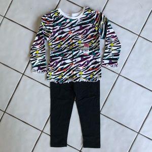 healthtex Matching Sets - Lot of 3 NWT Leggings, Zebra Print & Pink Ruffle